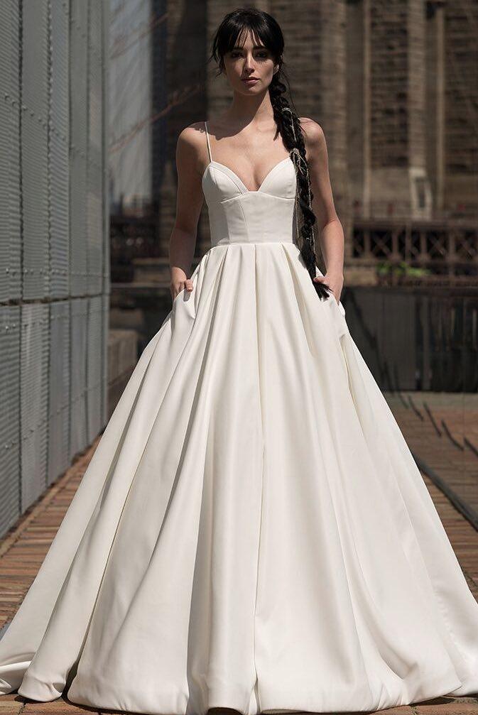 Alyne Rivini Simple Princess Ball Gown Satin Spaghetti Straps Tampa Bridal Shop