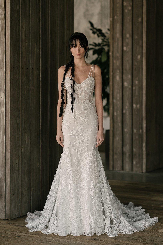 Rivini Sweetheart Lace Mermaid Spaghetti Strap Wedding Dress Tampa Bridal Boutique
