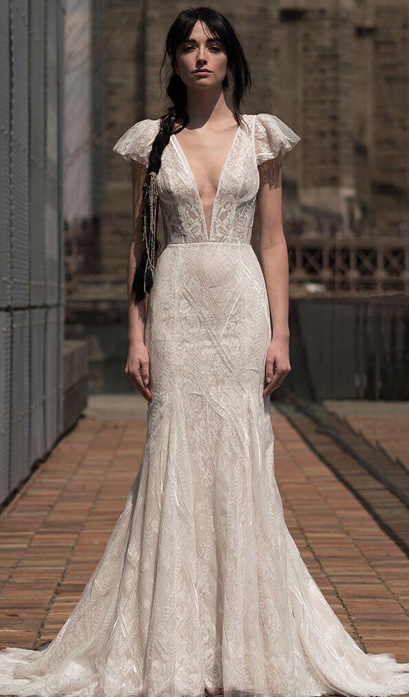 Alyne Rivini Boho plunging neckline flutter sleeves mermaid sheath bridal gown Tampa wedding dress shop