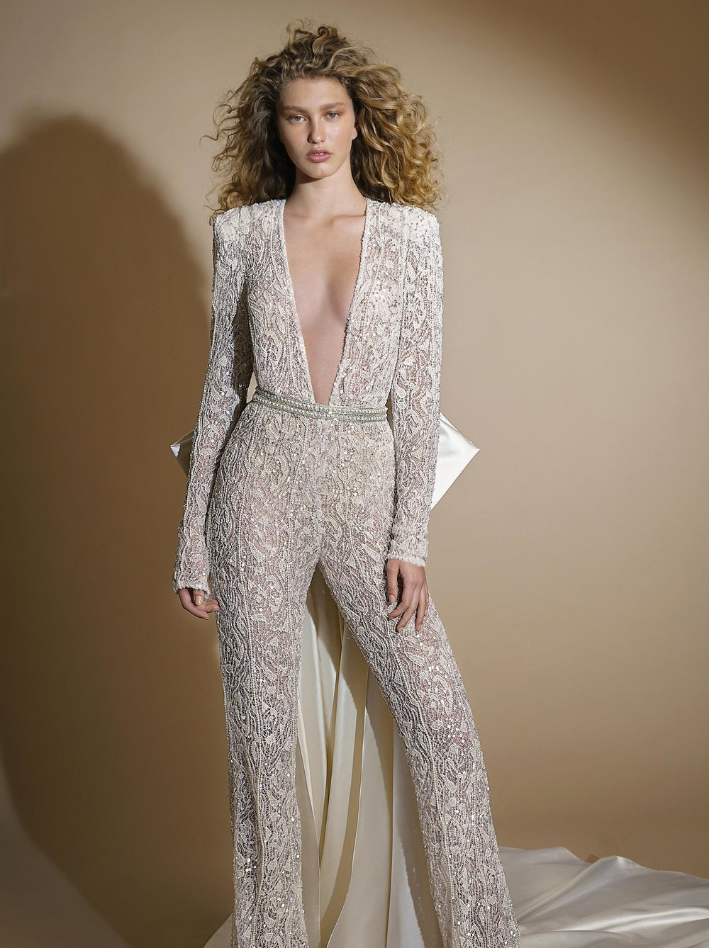 GALA G - 109 white beaded long sleeve wedding jumpsuit Tampa bridal boutique