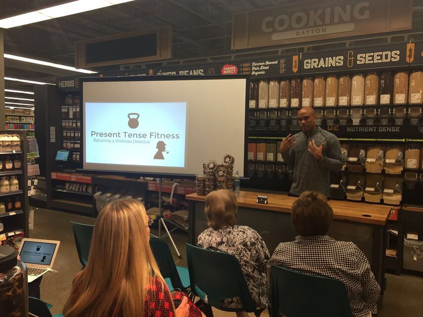 Speaking at Whole Foods in Dayton, Ohio.