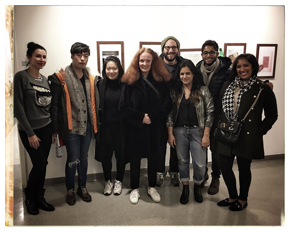 Grace Coddington, center, with MPS Fashion Photo Class of 2017 students L to R: Lena Davis, Jesse Lee, Siqin Bian, Mark Harris, Alejandra Vasquez, Vedant Gupta, Anushila Shaw.