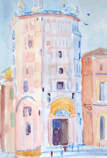 watercolours,bologna,Italian girl,battistero, 029.jpg