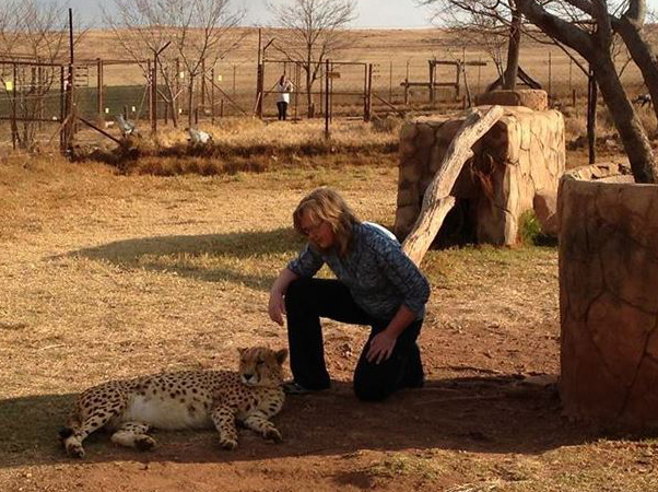 Denise Seavitt making new friends in South Africa