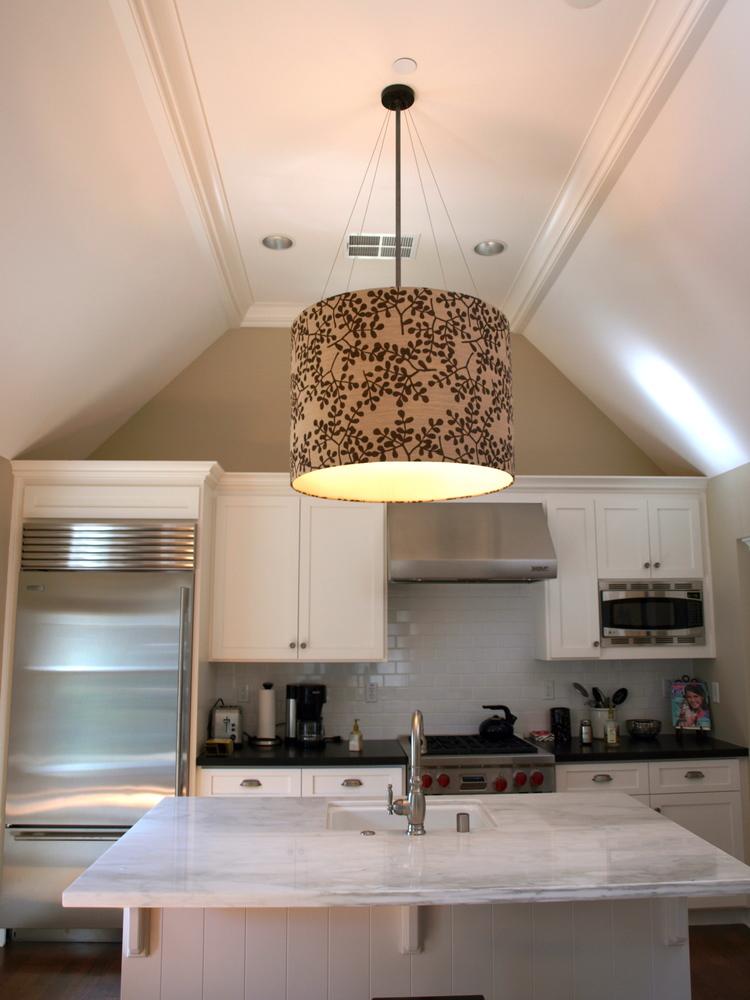Oversize Linen Drum Pendant Lafayette CA Nina Topper Interior Design