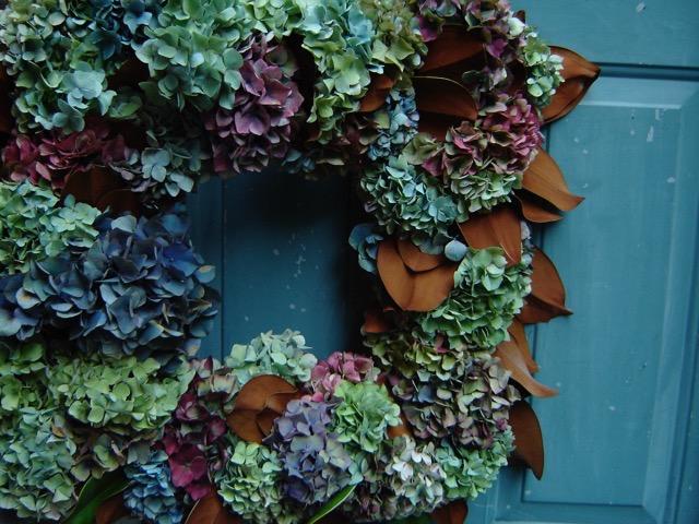 rustic hydrangea square wreath, on blue door