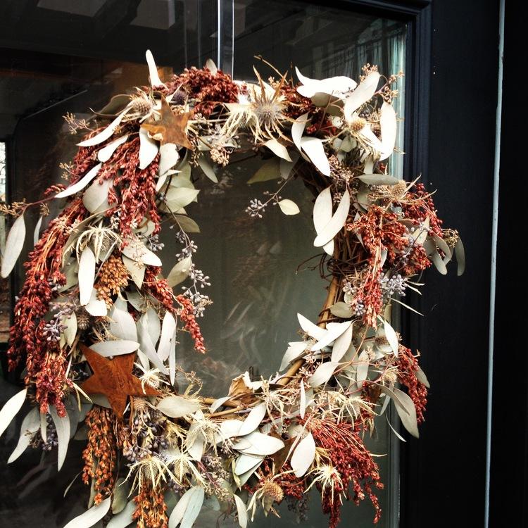 rustic grapevine wreath copper stars