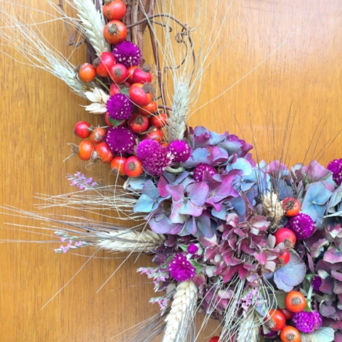 bespoke autumn wreath on grapevine base