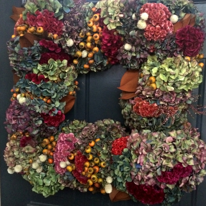bespoke bc hydrangea square wreath on black door