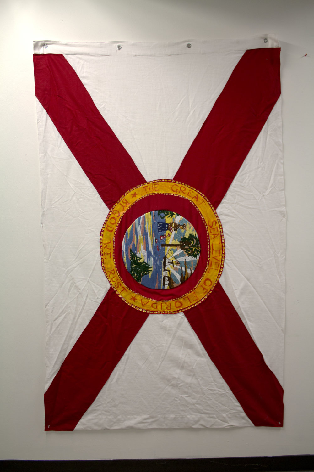 The Great Sealevel of Florida  Thread, embroidery floss, acrylic, fabric, grommets 4'x6'