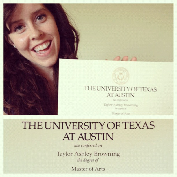Taylor Browning master's in art education The University of Texas at Austin