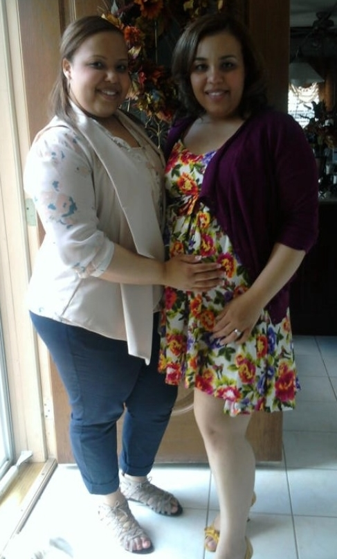 My sister and I while she was pregnant with her first child, Zachary (2011)