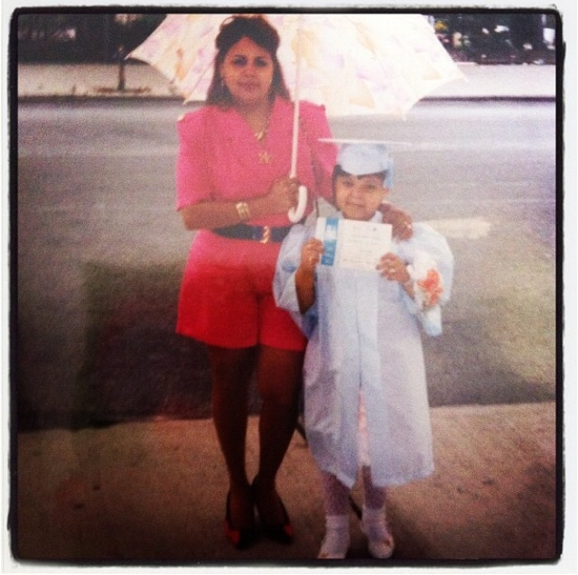 Me and my mom circa 1993 in my kindergarten graduation