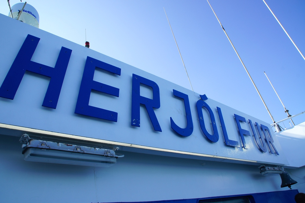This is the name of the ferry, Herjólfur.