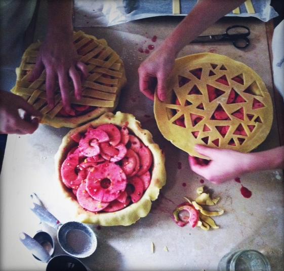 Sculpting pie dough, intricate lattice work.