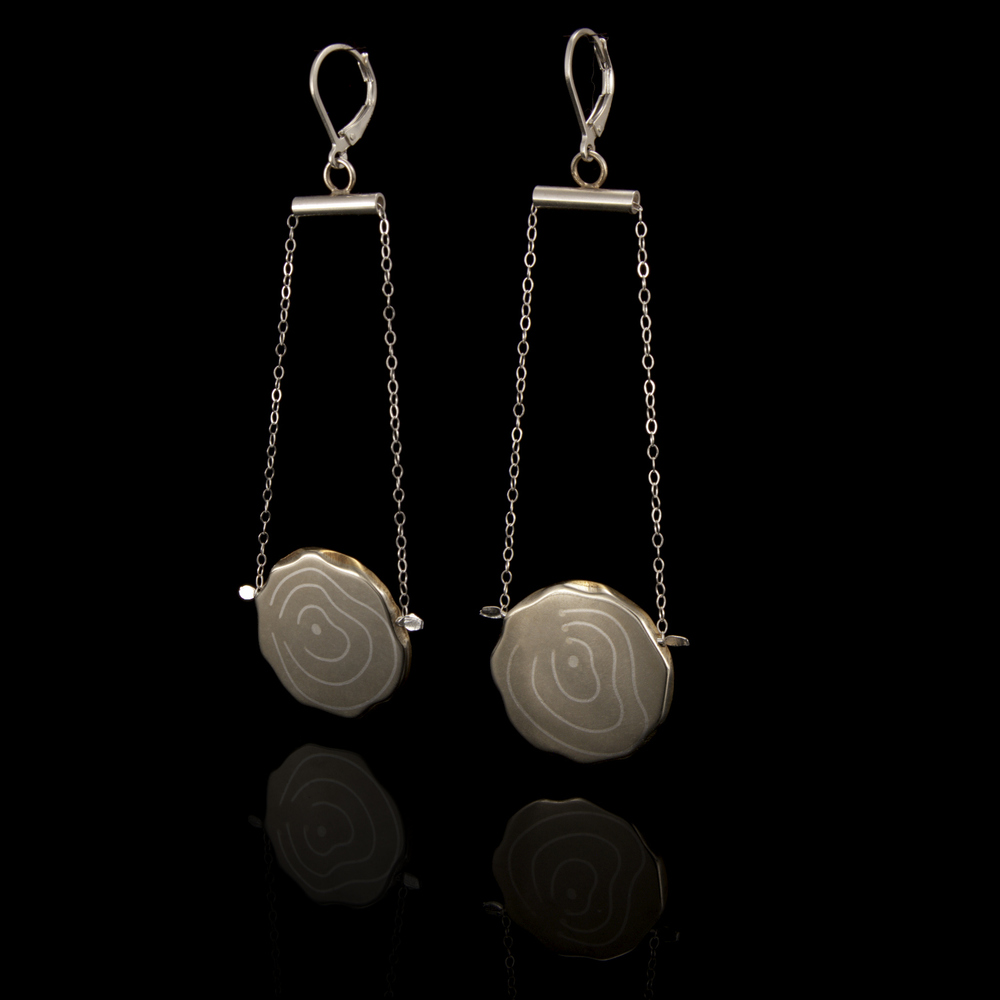 Tree Ring Trapeze Earrings from the Natural Patterns Collection