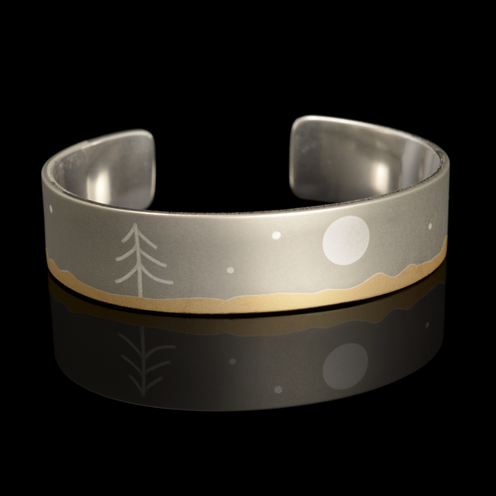 Silver, Brass, and Nickel Desert Night Scene Cuff