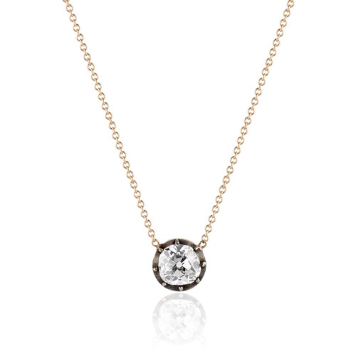 gold pendant carat diamond itm s image with solitaire is chain loading white in comes