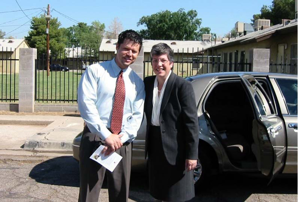 Vince Scarano with Former Arizona Governor Janet Napolitano, at the Henson Village Groundbreaking Ceremony