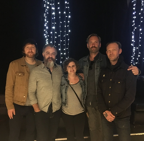 The fellas from Minus the Bear and I!  L-R:  Alex Rose, Jake Snider,  freakin' me , Dave Knudson, Cory Murchy. And yes, I felt incredibly short next to them, but what else is new?