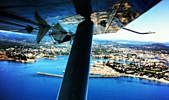 Flying over Victoria, BC. Photograph taken by Trent.