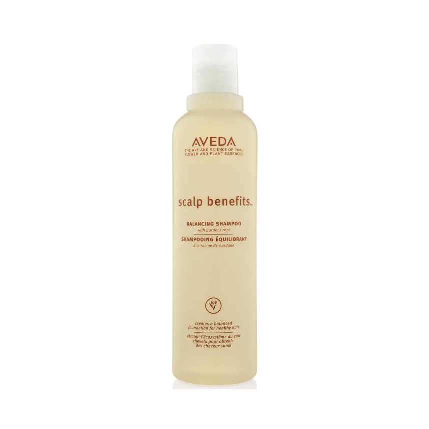 Aveda Scalp Benefits Shampoo $31.50 (250ml)   Gently cleanses hair and scalp, so all hair types look and feel healthy. With a nurturing blend including burdock root, echinacea and sage.  Aveda's own pure-fume aroma with vetiver, rosemary, cinnamon and other pure flower and plant essences.   (purchase in store only)