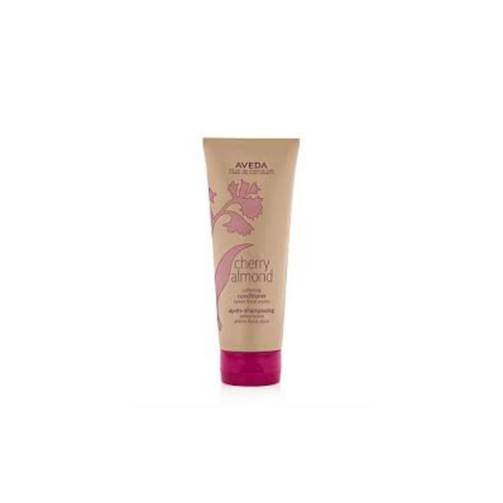 Cherry Almond Softening Conditioner $ 200ml   Naturally derived cherry blossom extract, almond oil and certified organic shea butter deeply condition restoring softness and shine—with superior slip and effortless detangling—leaving hair feeling touchably soft and full of weightless bounce.  Aveda's own pure-fume aroma with 38 flower and plant essences including tonka bean, certified organic orange and ylang ylang.   (purchase in store only)