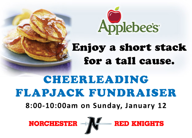 Join us for the Norchester Red Knight's Flapjack Fundraiser at Applebee's on Sunday, January 22!