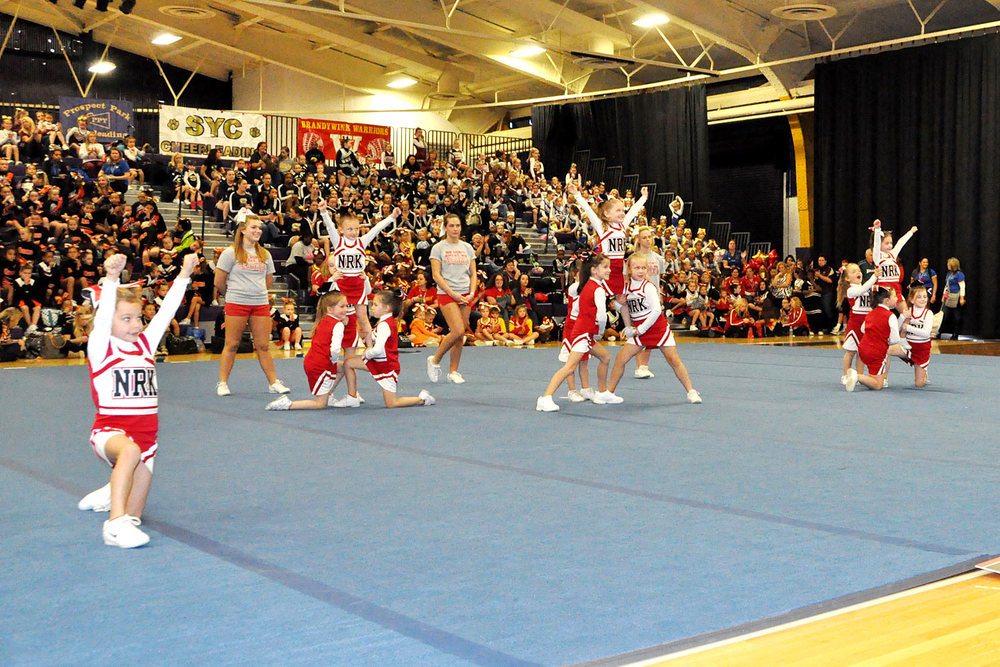 Norchester Red Knights Flag Cheerleading Squad at Bert Bell Cheer Competition