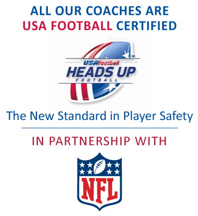 All Norchester Red Knight coaches are USA Football certified and teach Heads Up safe tackling