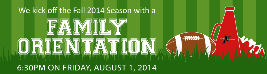 The Norchester Red Knights Football and Cheerleading kick off the Fall 2014 Season with a Family Orientation on Friday, August 1, 2014!