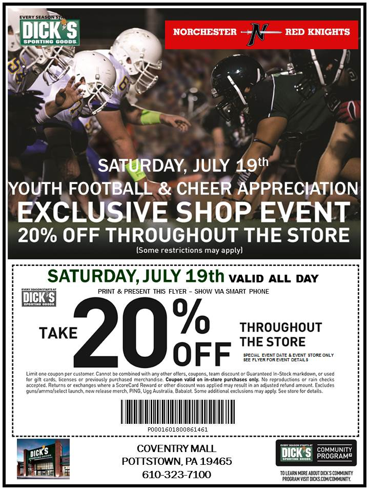 Norchester Red Knights families will receive 20% OFF their entire purchase on Saturday, July 19, at the Dick's Sporting Good at the Coventry Mall!