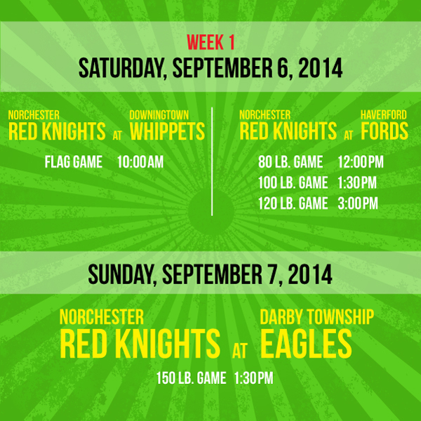 Week 1 of the Norchester Red Knights Football Games 2014
