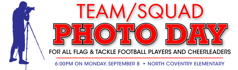 Team/Squad Photo Day for Football Players and Cheerleaders is Monday, September 8, 2014