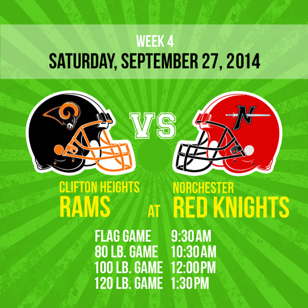 The Norchester Red Knights battle the Clifton Heights Rams on Saturday, September 27!