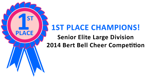 The Norchester Red Knights 120/150 lb. Cheer Squad won First Place at the 2014 Bert Bell Cheer Competition!