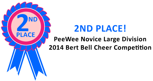 NORCHESTER RED KNIGHTS CHEERLEADING WON SECOND PLACE IN THE PeeWee NOVICE LARGE DIVISION AT THE 2014 BERT BELL CHEER COMPETITION!