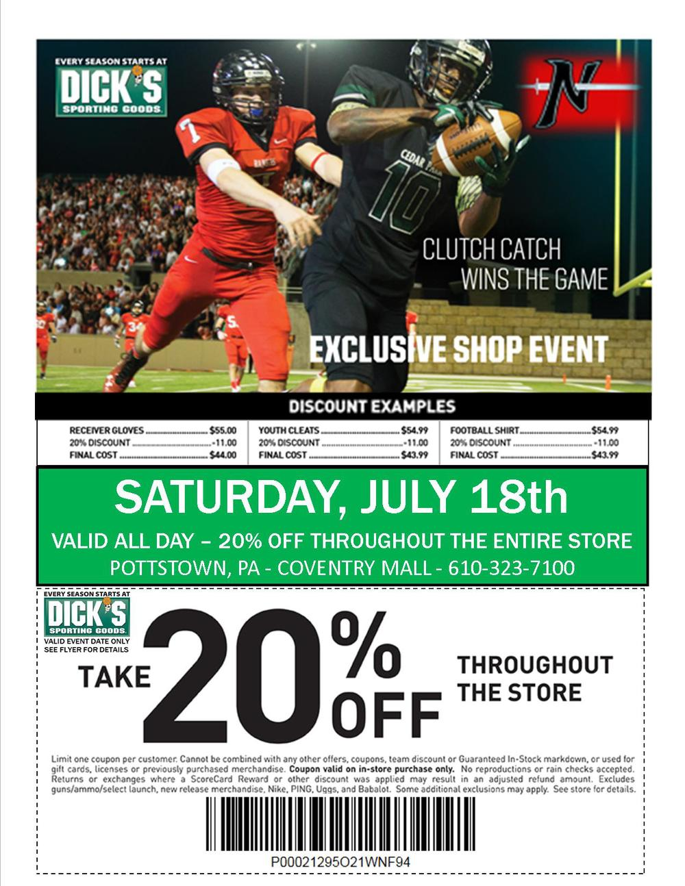 Norchester Red Knights are celebrating Youth Football & Cheer Appreciation Day at Dick's Sporting Goods at the Coventry Mall on Saturday, July 18, 2015!