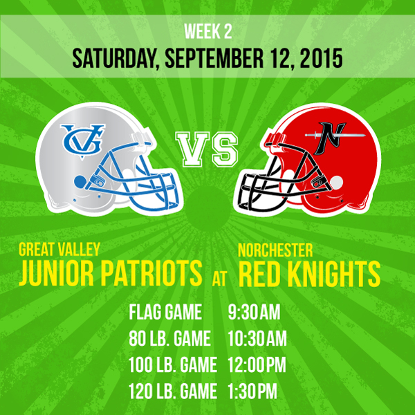 Norchester Red Knights Football versus the Great Valley Junior Patriots