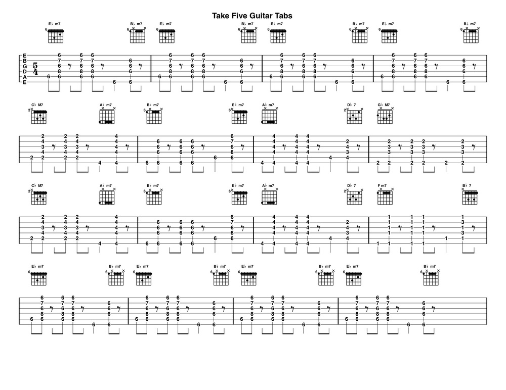 Take Five Guitar Tabs