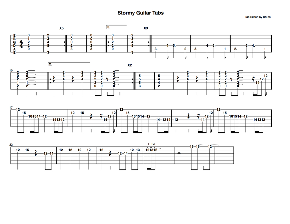 Stormy Guitar Tabs