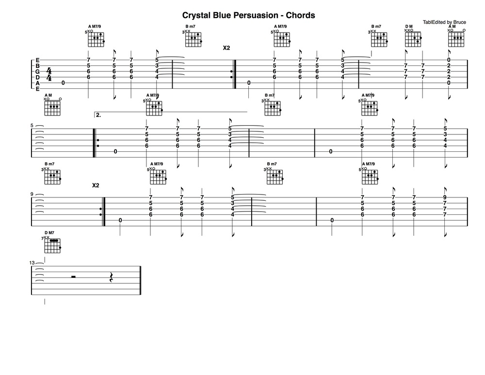 Crystal Blue Persuasion - Chords