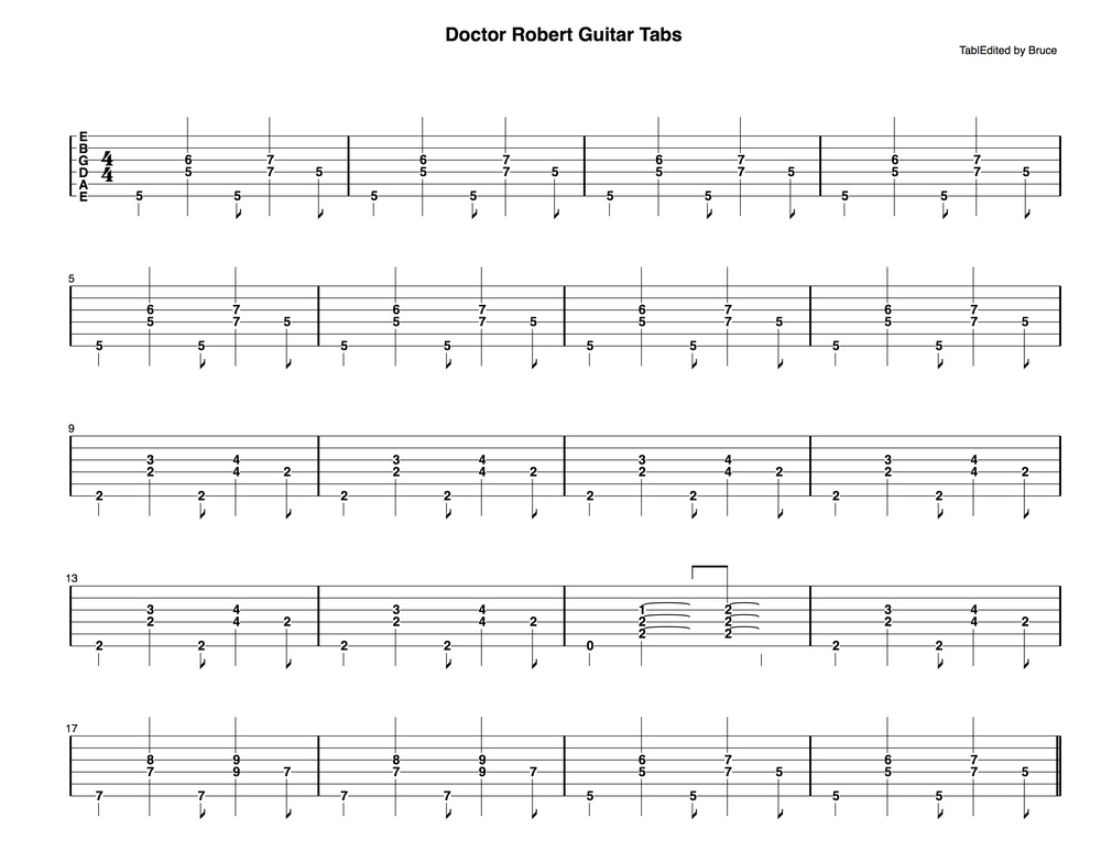 Doctor Robert Guitar Tabs (1 of 2)