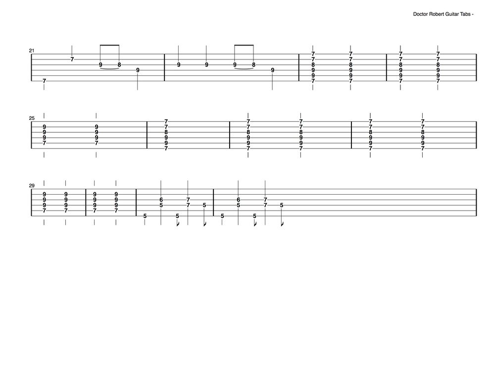 Doctor Robert Guitar Tabs (2 of 2)