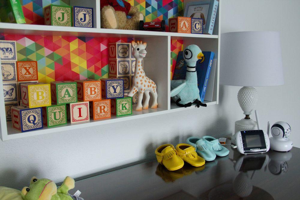Baby Quirk Nursery Colors- Walls: Valspar - Pantone - Barely Blue; Ceiling: Benjamin Moore - Blue Angel