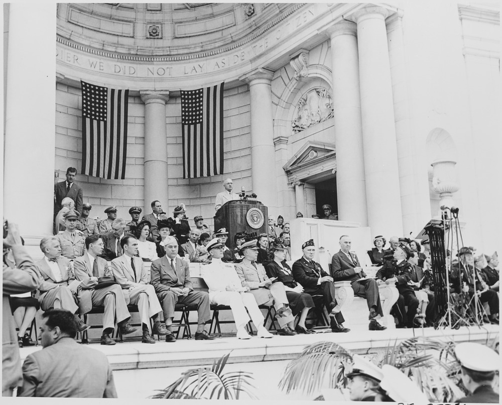 President Truman attends the Memorial Day ceremony at Arlington National Cemetery
