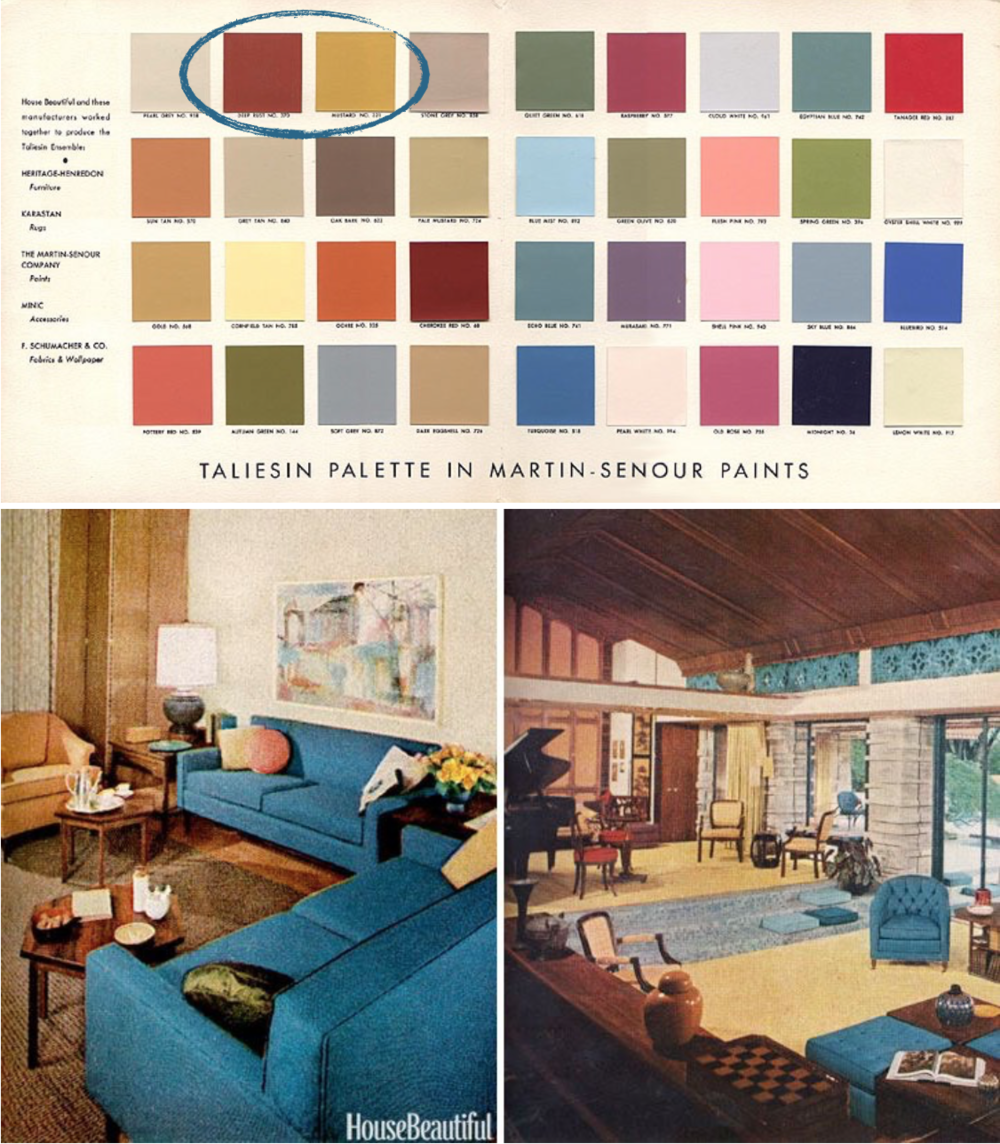 Variants of complementary colors, such as warm rust and toned-down cerulean, are mid-century decor staples.  Images via Froy blog (top) and Curbed (bottom).