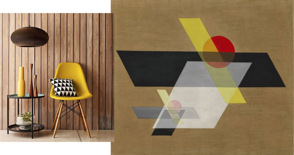 It's not hard to find cost-friendly version of the classic Eames Dowel-Leg Side Chair (or just DWS as it's known to friends). Rove Concepts styled their iteration by using a vivid goldenrod in clean, contained shapes set against a more expansive, warm backdrop. Left: Rove Concepts; R: Laszlo Maholy-Nagy, A II, 1924.