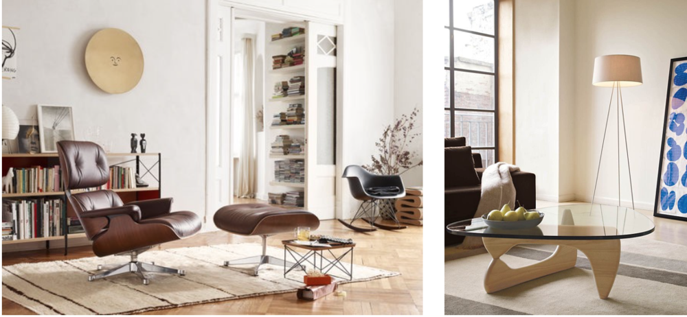 Mid-  Century Icons: The Eames Lounge Chair (left) and Isamu Noguchi coffee table (right).   Images via Pinterest and Design Within Reach
