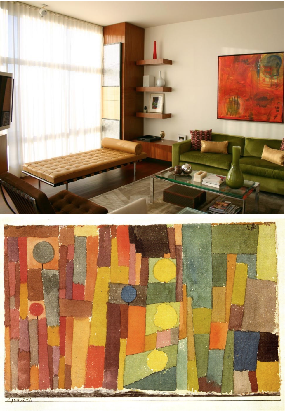A  split-complement  color scheme, like the one used in this watercolor study by Paul Klee, allows for contrasting, dynamic hues that are also harmonious.  Images: HGTV, Pinterest .